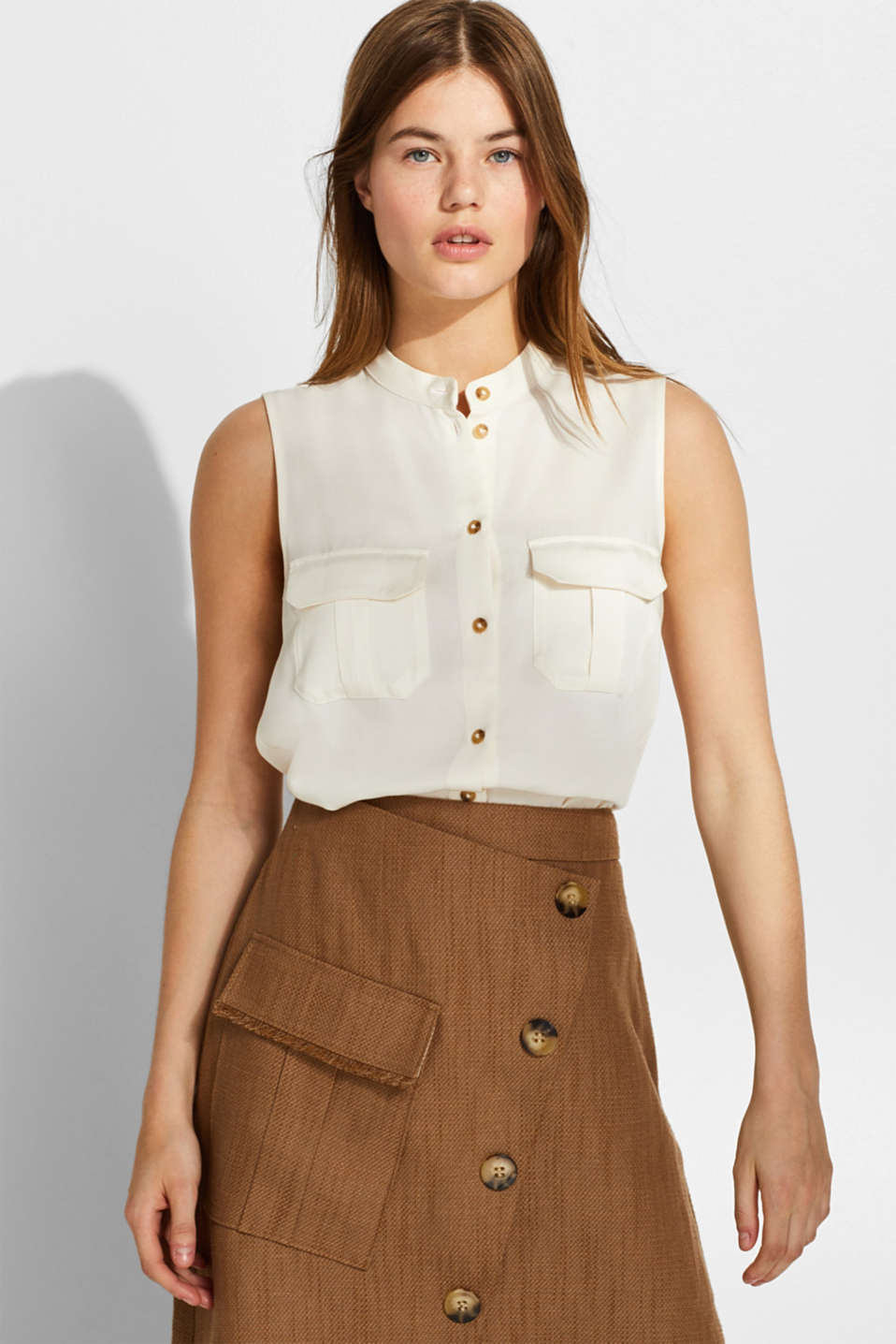 Esprit - With linen: lyocell blouse with flap pockets