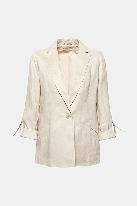 100% linen: blazer with turn-up sleeves