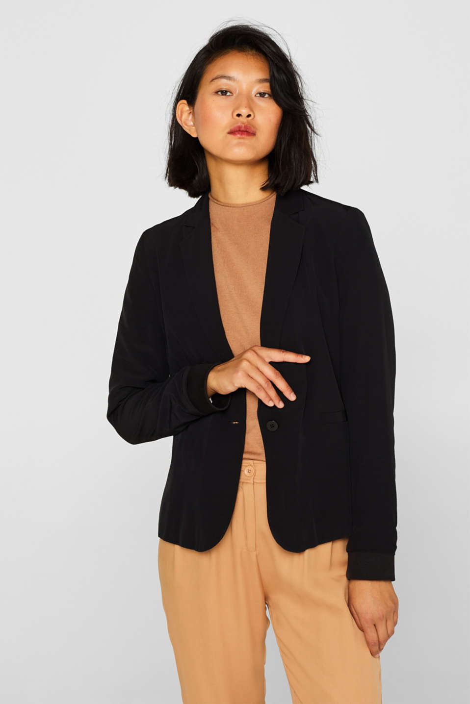 Esprit - Blazer with jersey sleeve cuffs
