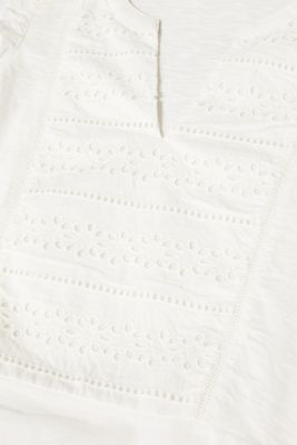 Blouse top with broderie anglaise, 100% cotton