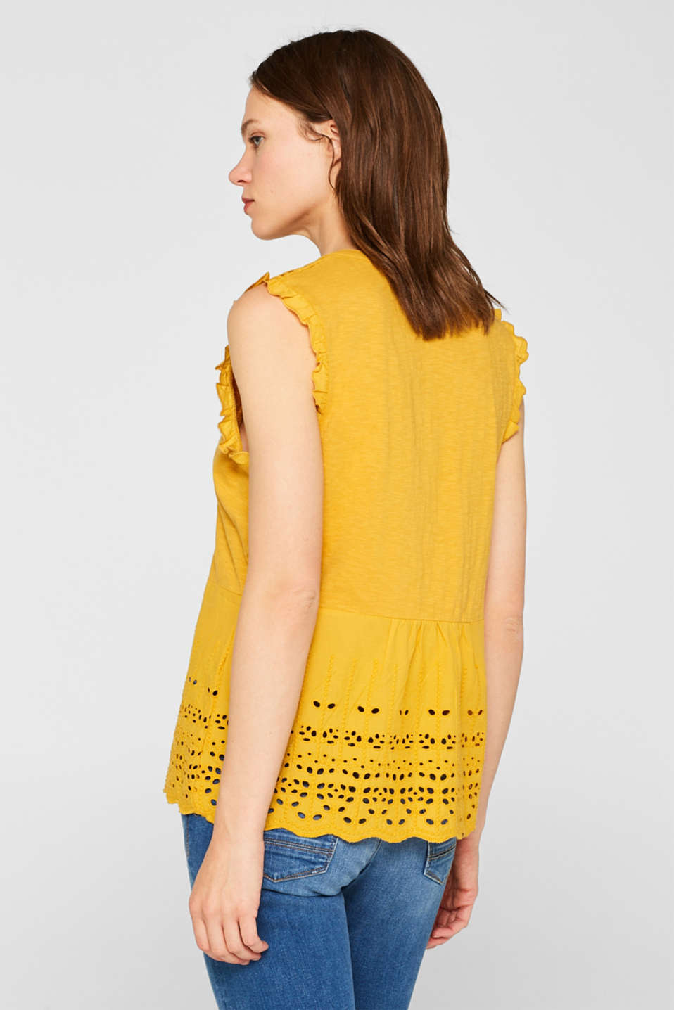Blouse top with broderie anglaise, 100% cotton, BRASS YELLOW, detail image number 3