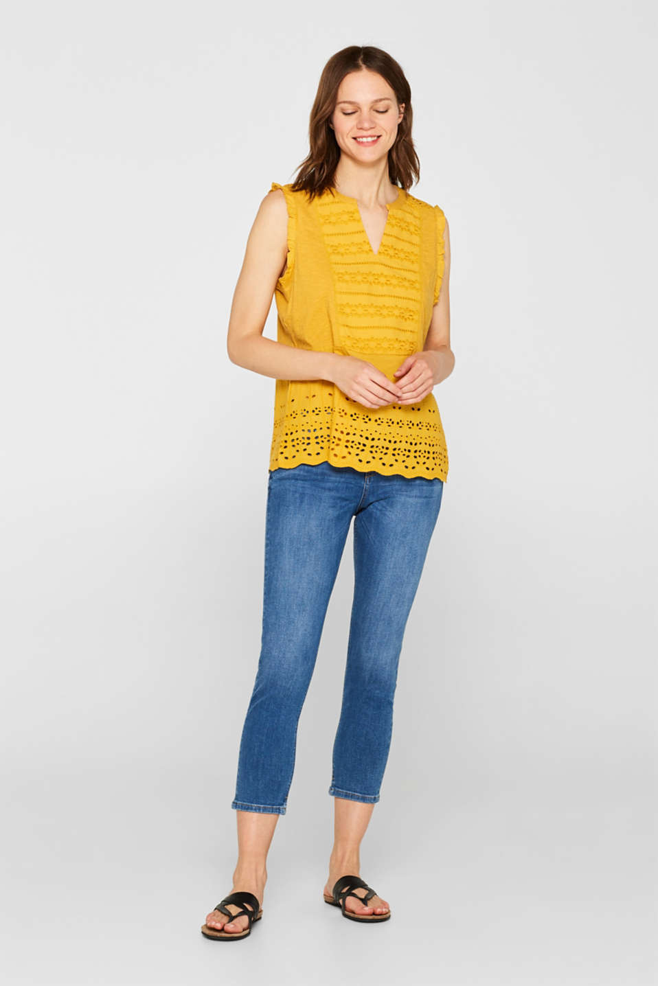 Blouse top with broderie anglaise, 100% cotton, BRASS YELLOW, detail image number 7