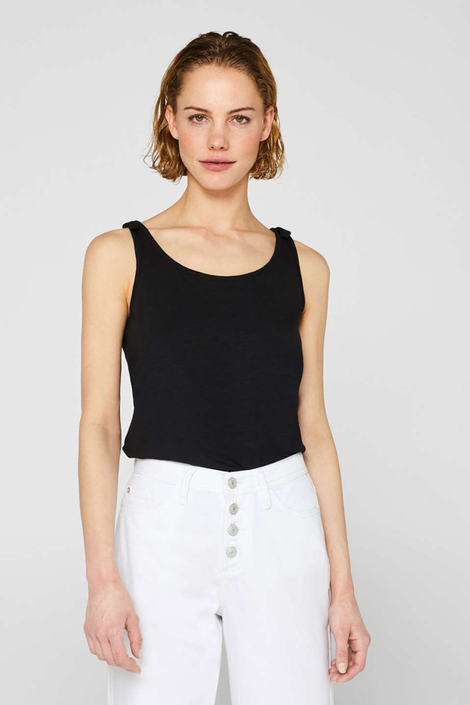 Esprit - Slub top with bow detail shoulder straps, 100% cotton