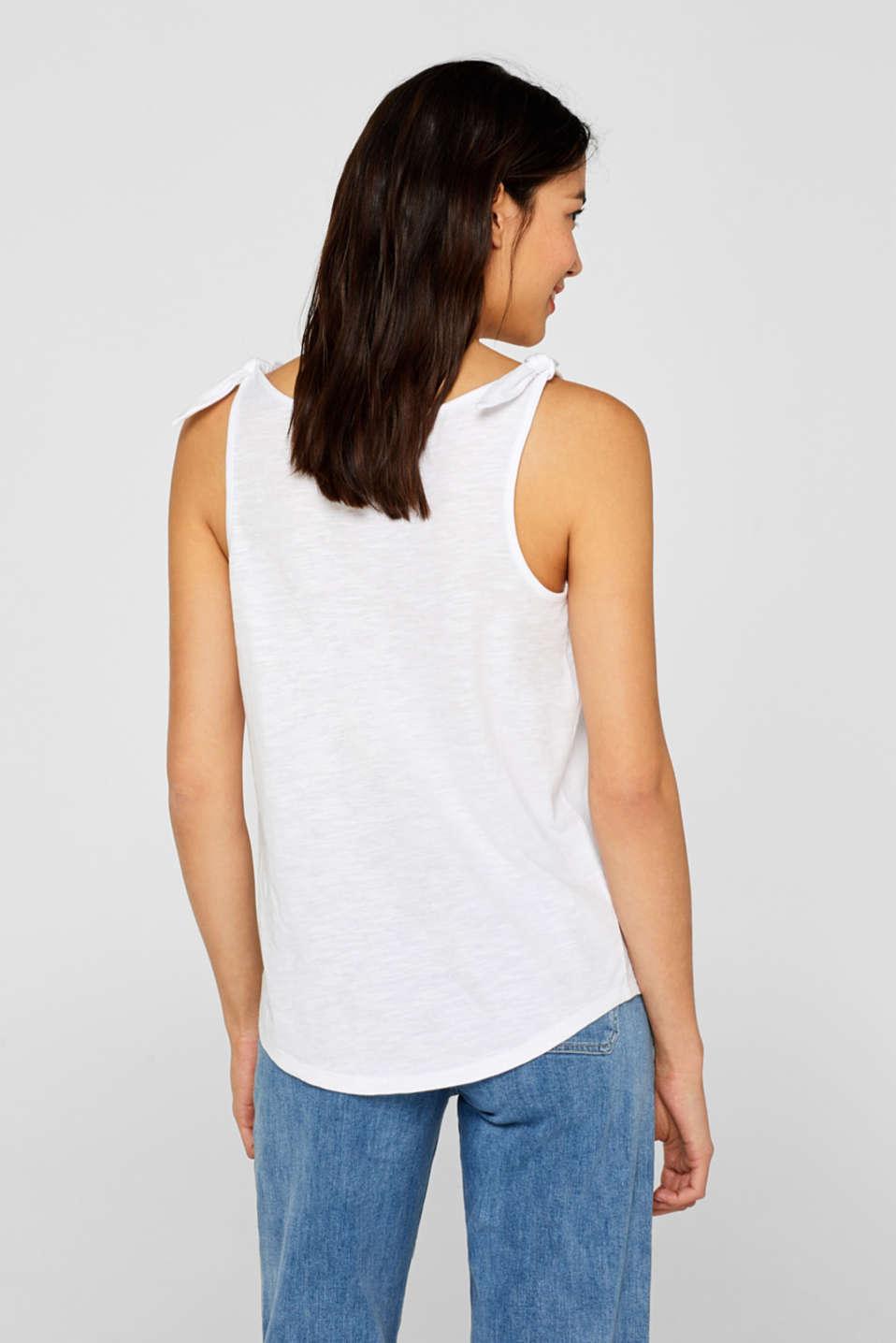Slub top with bow detail shoulder straps, 100% cotton, WHITE, detail image number 2
