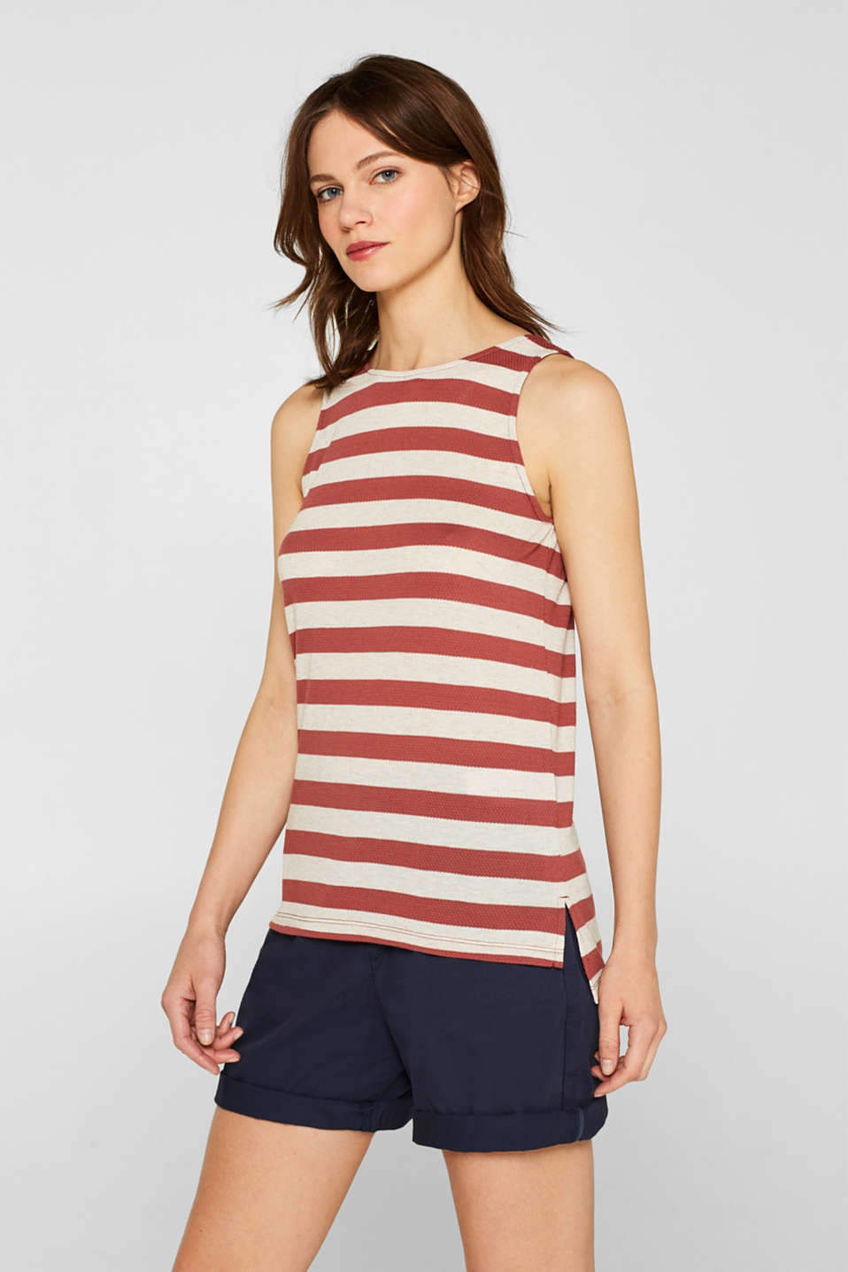Esprit - Linen blend: Jersey top with block stripes