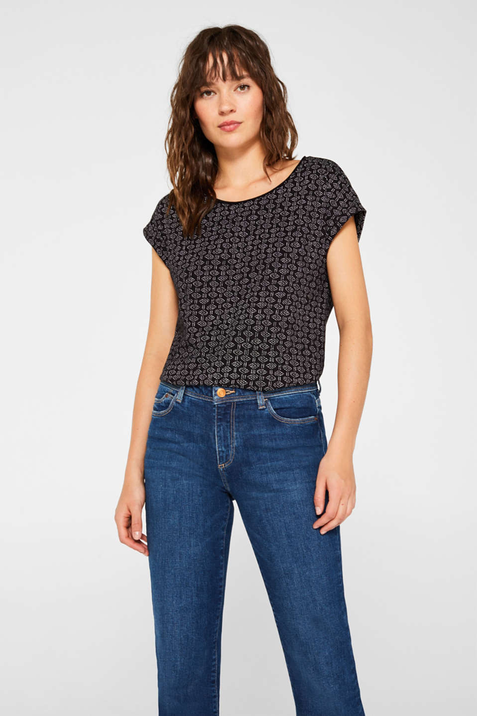 Esprit - Printed top with turn-up sleeves, 100% cotton