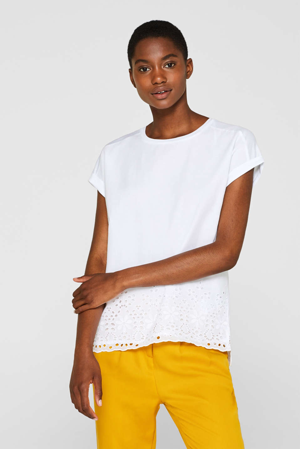 Esprit - Material mix top with broderie anglaise