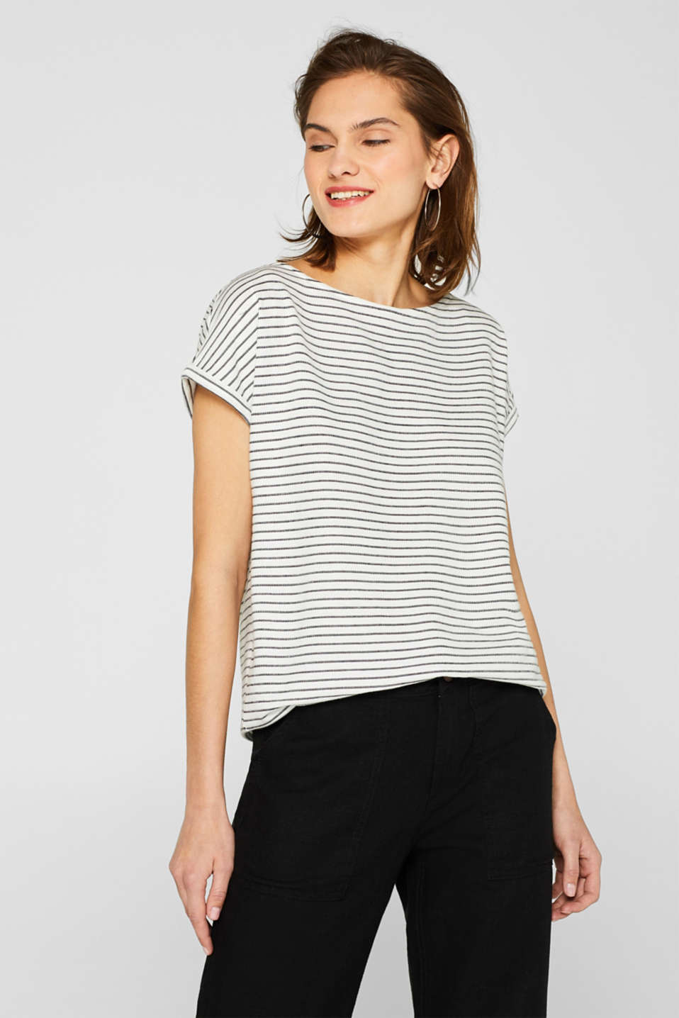 Esprit - Shirt with stripes and lace decoration
