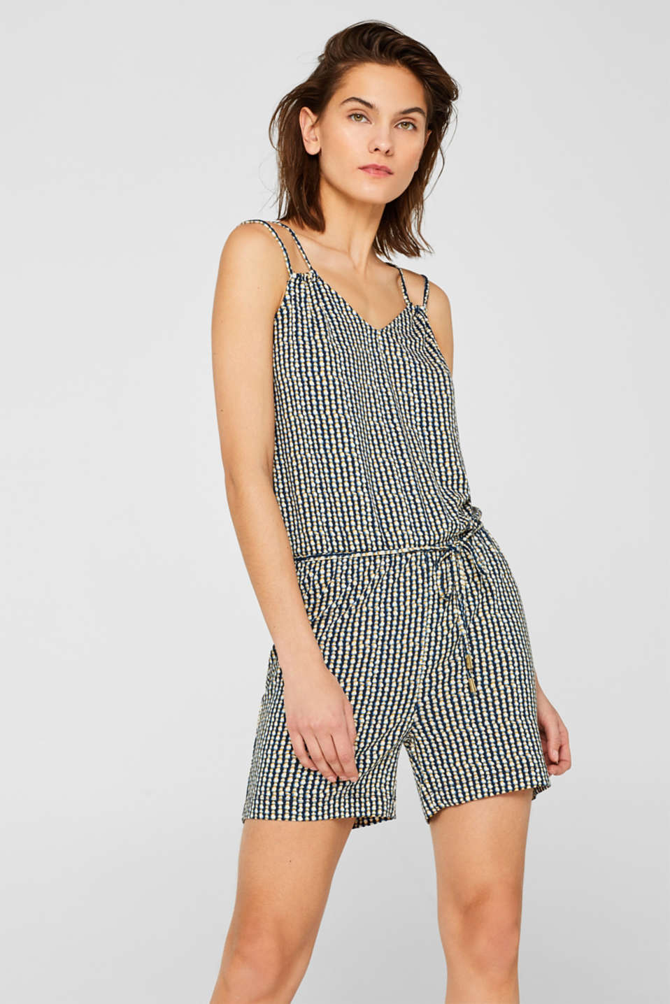 Esprit - Printed jumpsuit in stretch jersey