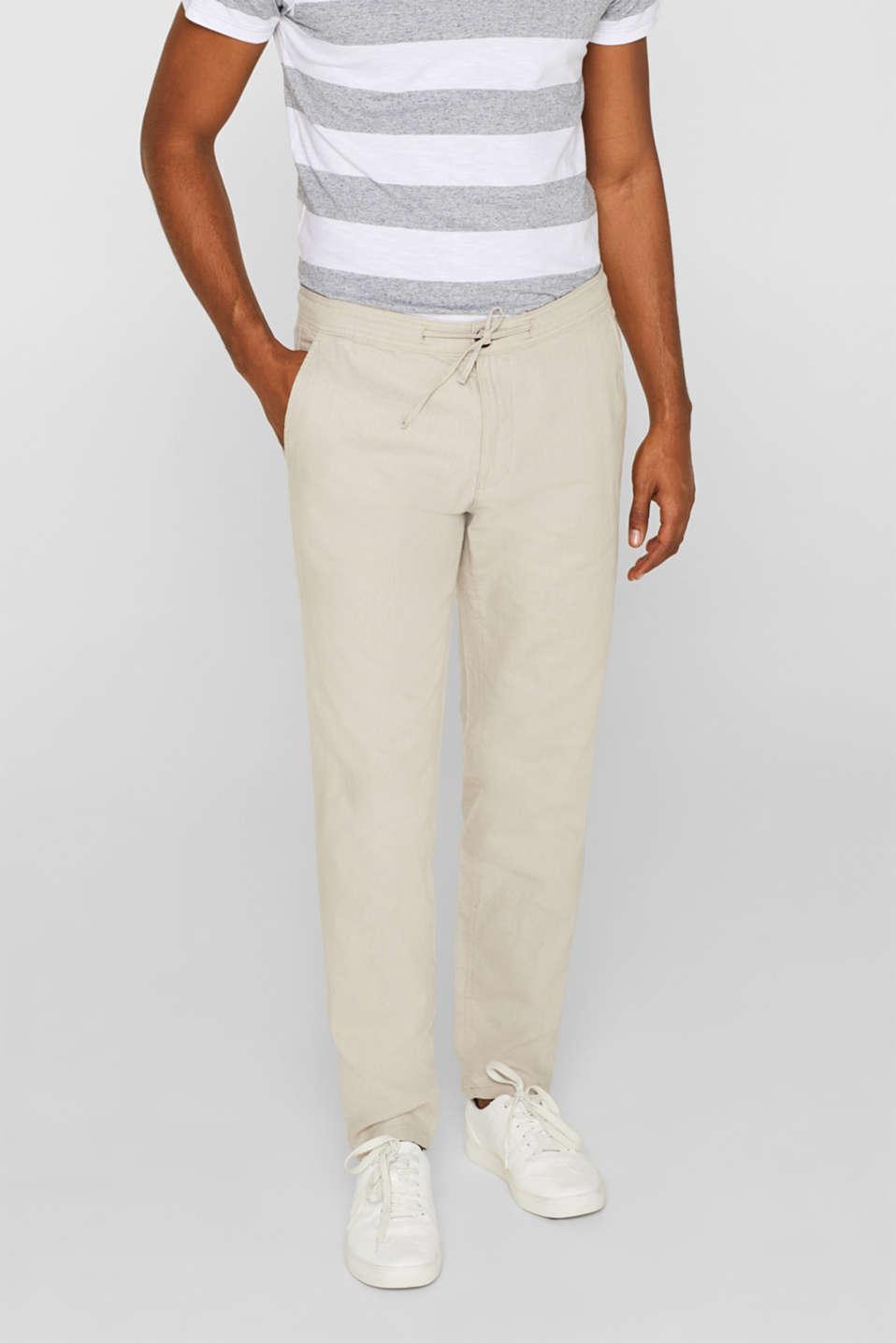 a2b33cd94 Esprit : En lin mélangé : le pantalon à cordon coulissant à la ...