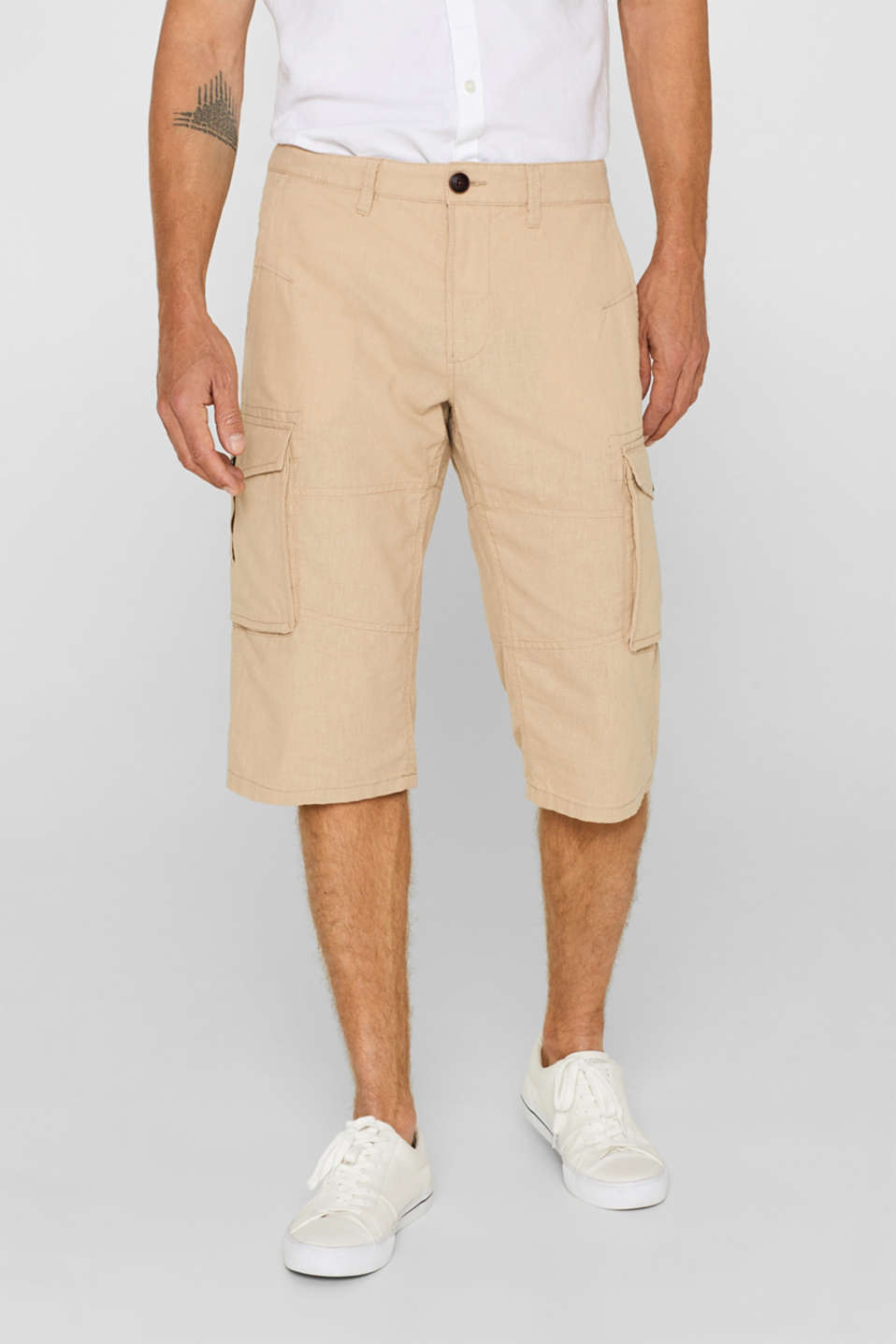 Esprit - Linen blend: shorts with cargo pockets