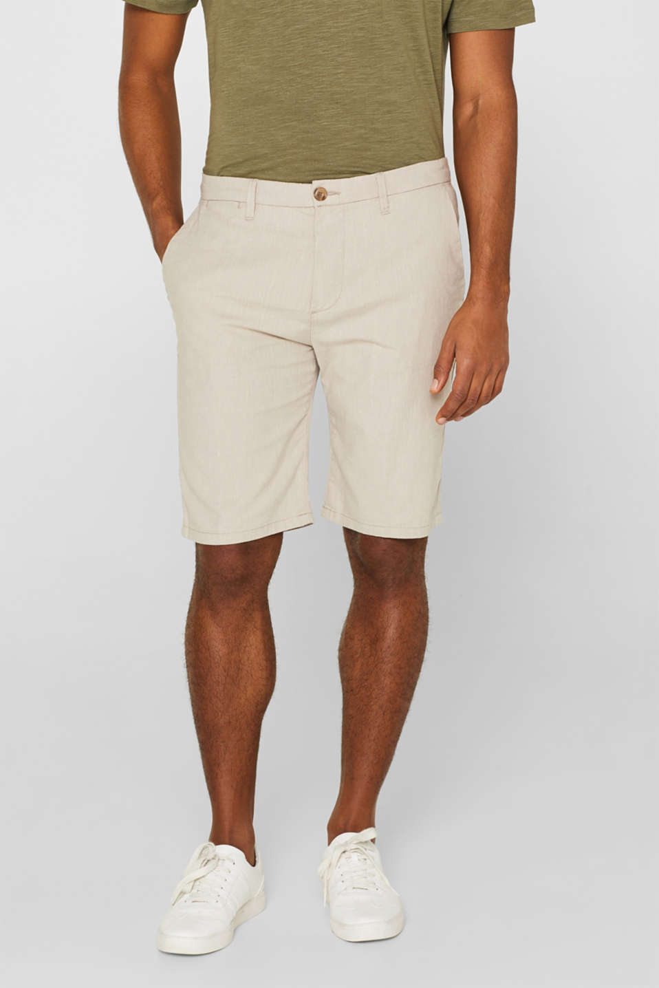 Esprit - Linen blend: shorts with stretch for comfort