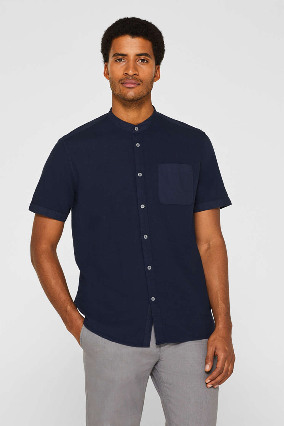 Short sleeve shirt with band collar, 100% cotton