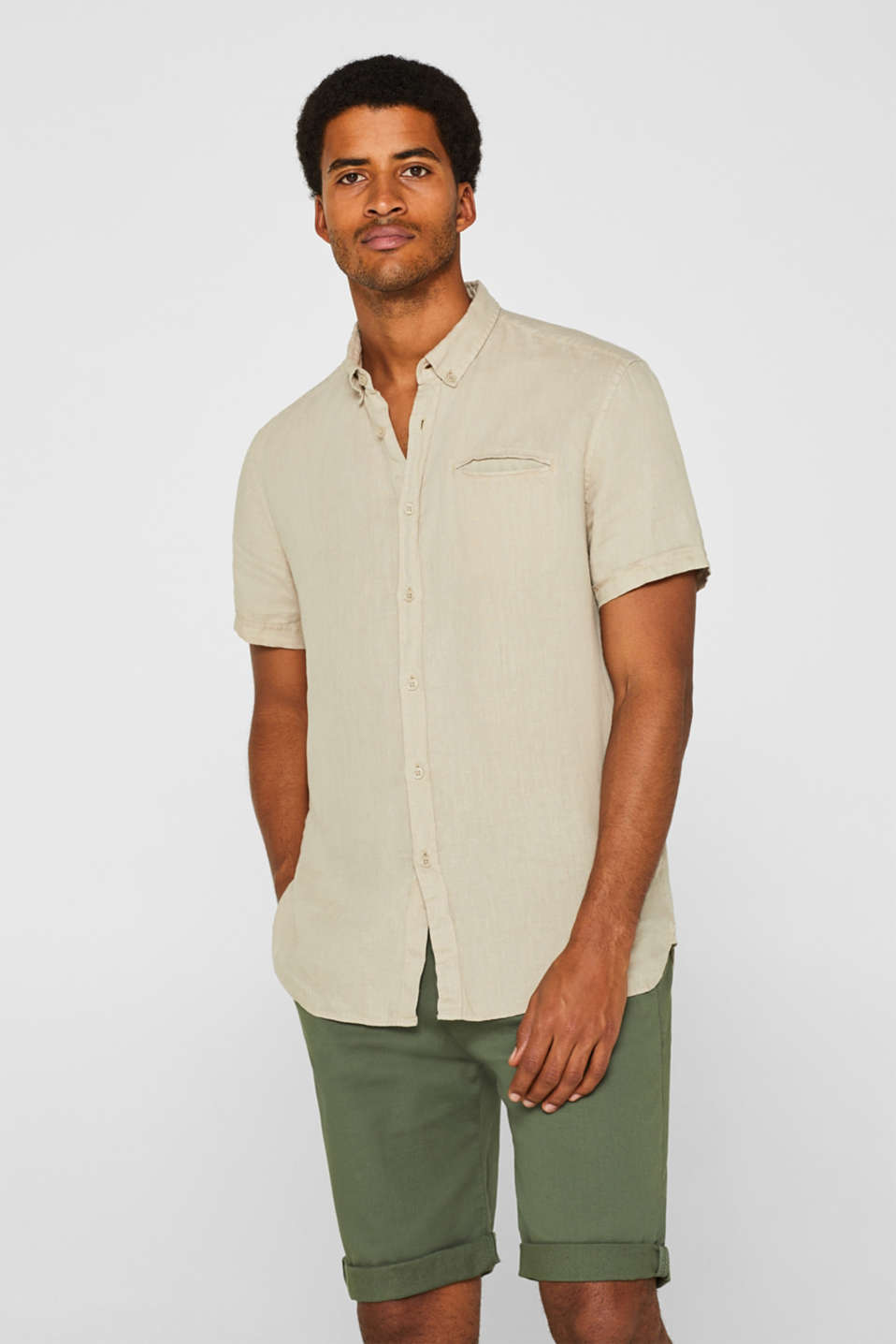 Esprit - 100% linen: short sleeve shirt with button-down collar