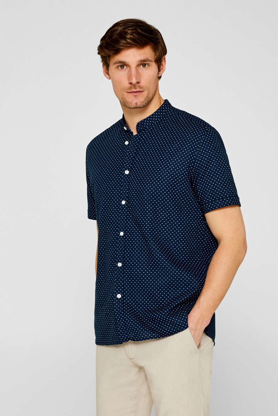 Esprit - Linen blend: shirt with a stand-up collar
