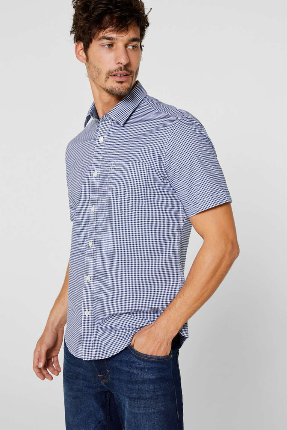 Esprit - Short sleeve shirt with gingham check, stretch cotton