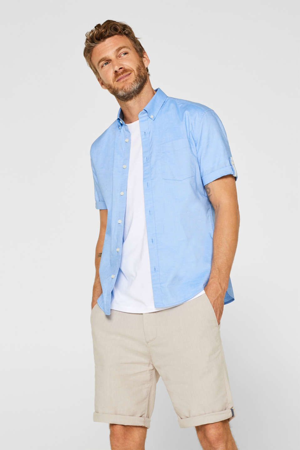 Esprit - Short sleeve shirt in stretch cotton