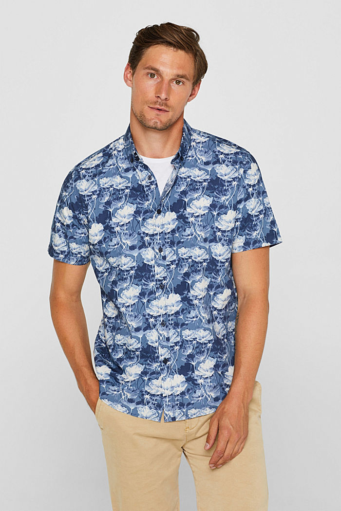 Short-sleeved shirt with a floral print, 100% cotton, NAVY, detail image number 0