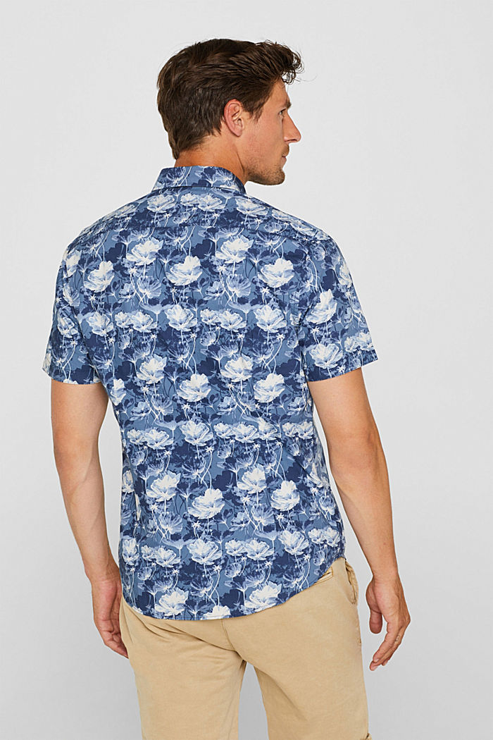 Short-sleeved shirt with a floral print, 100% cotton, NAVY, detail image number 3