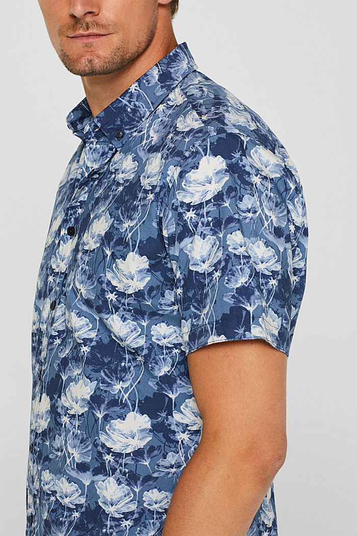Short-sleeved shirt with a floral print, 100% cotton, NAVY, detail image number 2