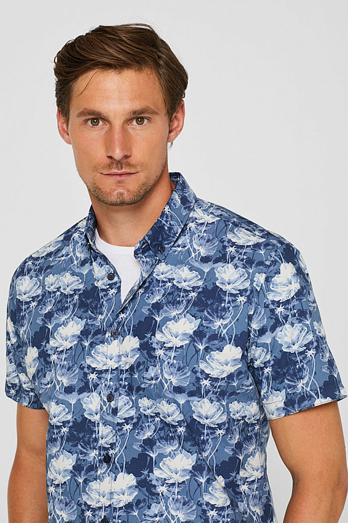Short-sleeved shirt with a floral print, 100% cotton, NAVY, detail image number 5