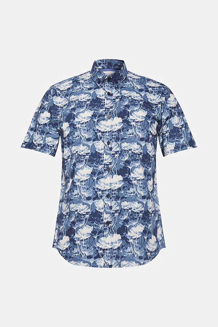 Short-sleeved shirt with a floral print, 100% cotton, NAVY, detail image number 7
