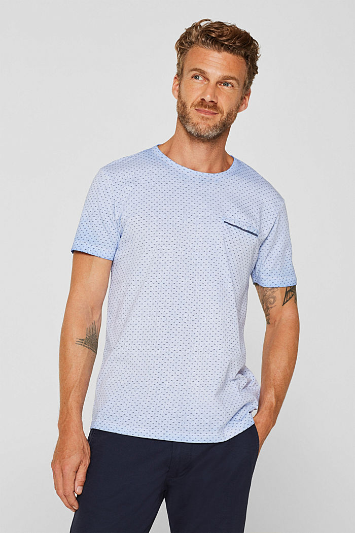 Jersey T-shirt with a micro print, 100% cotton, BLUE, detail image number 0