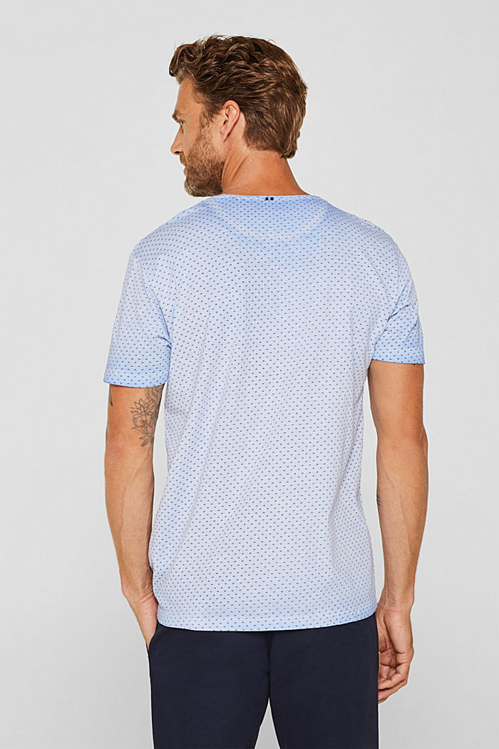 Jersey T-shirt with a micro print, 100% cotton, BLUE, detail image number 3