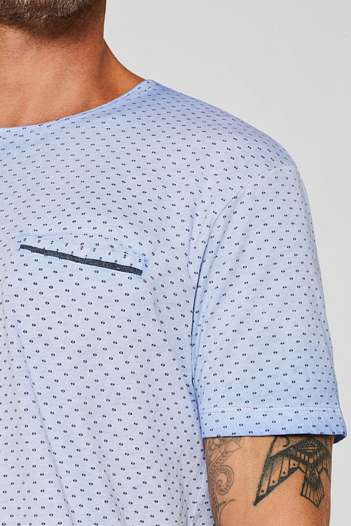 Jersey T-shirt with a micro print, 100% cotton, BLUE, detail image number 1