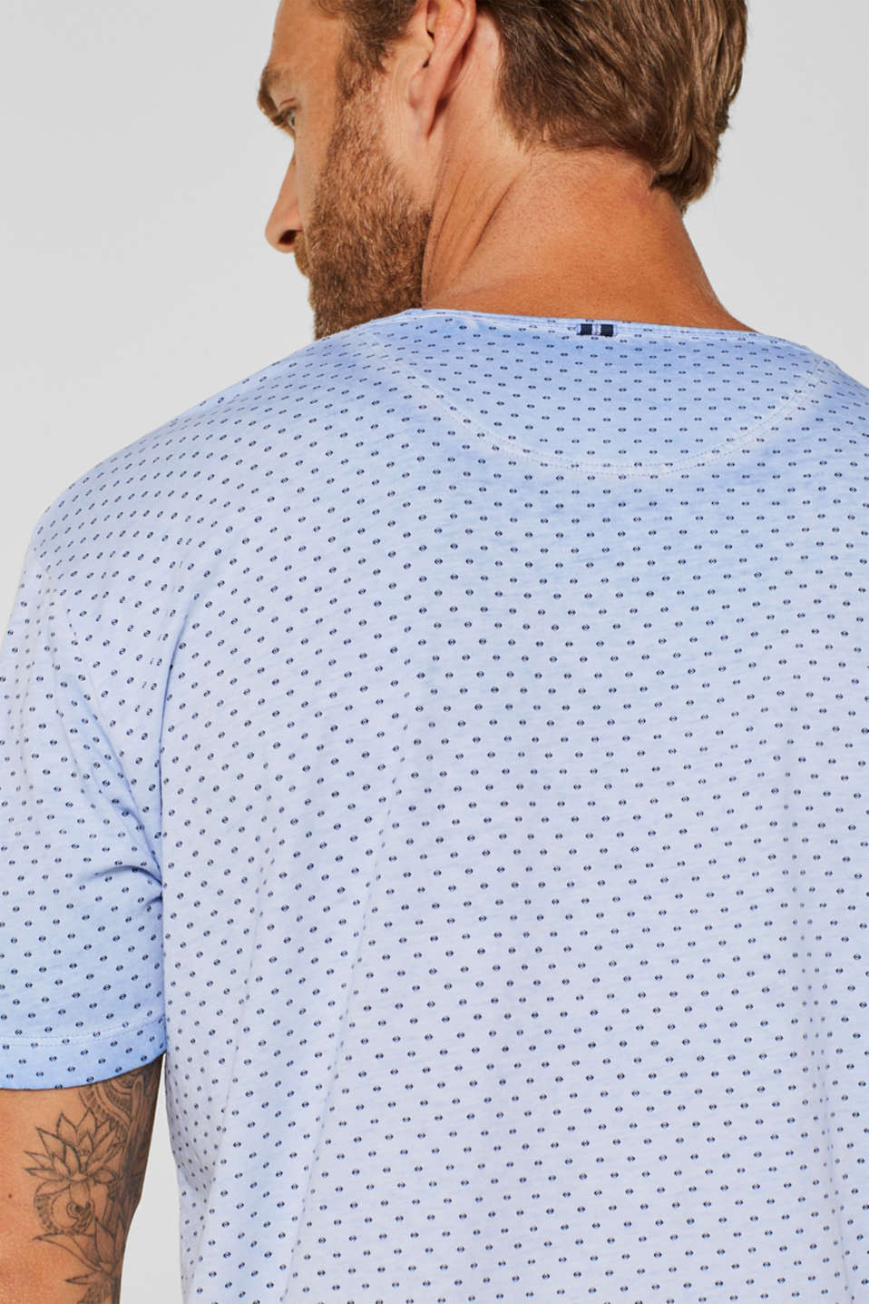 Jersey T-shirt with a micro print, 100% cotton, BLUE, detail image number 5