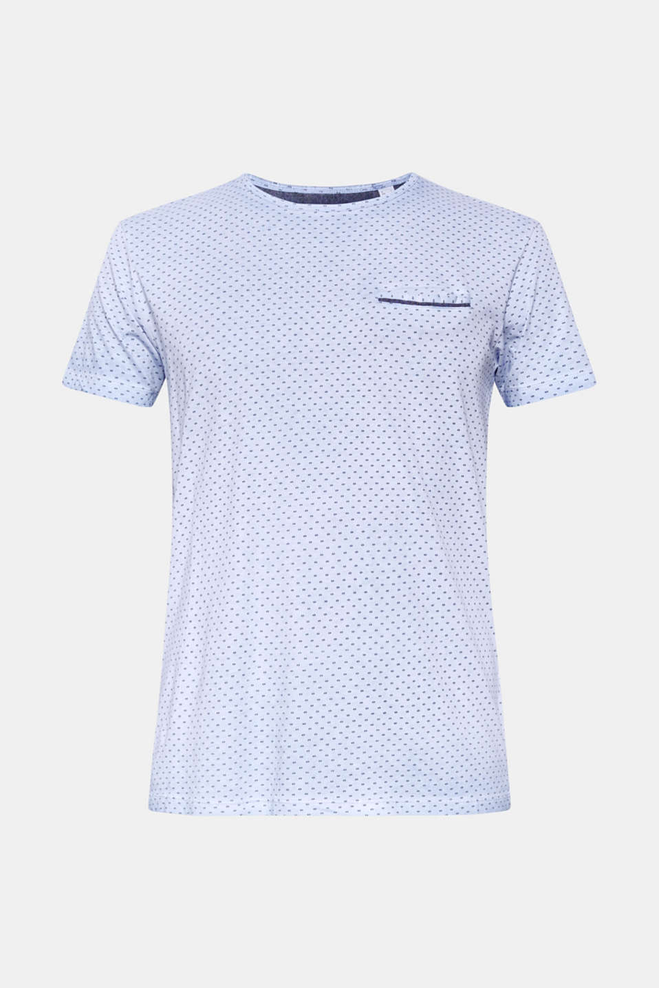 Jersey T-shirt with a micro print, 100% cotton, BLUE, detail image number 6