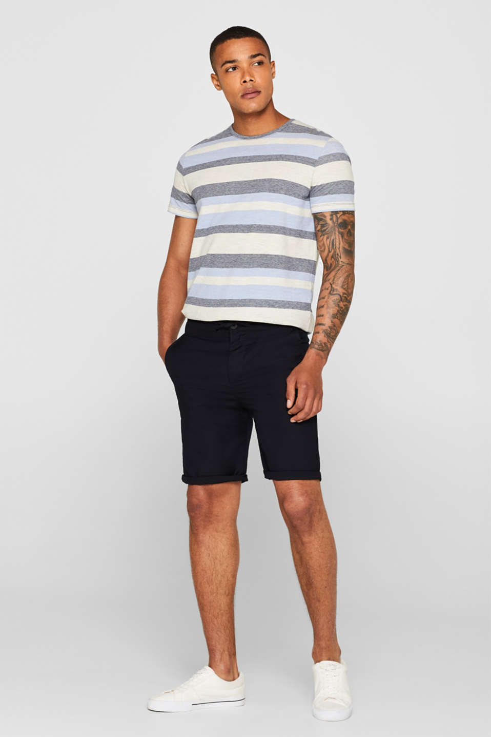 Piqué T-shirt with stripes, NAVY, detail image number 2