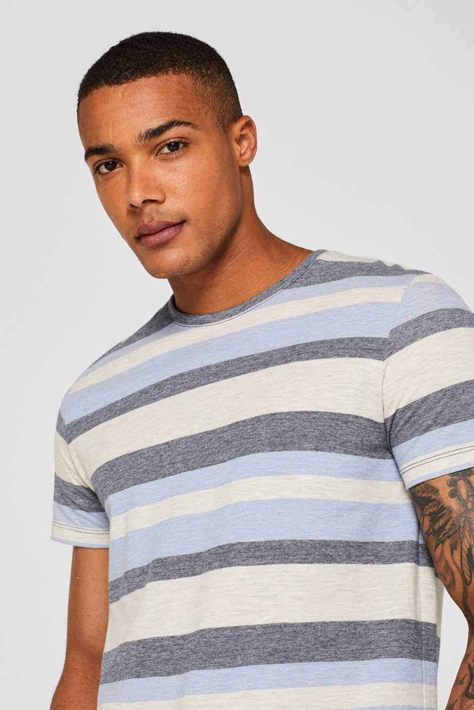 Piqué T-shirt with stripes, NAVY, detail image number 1