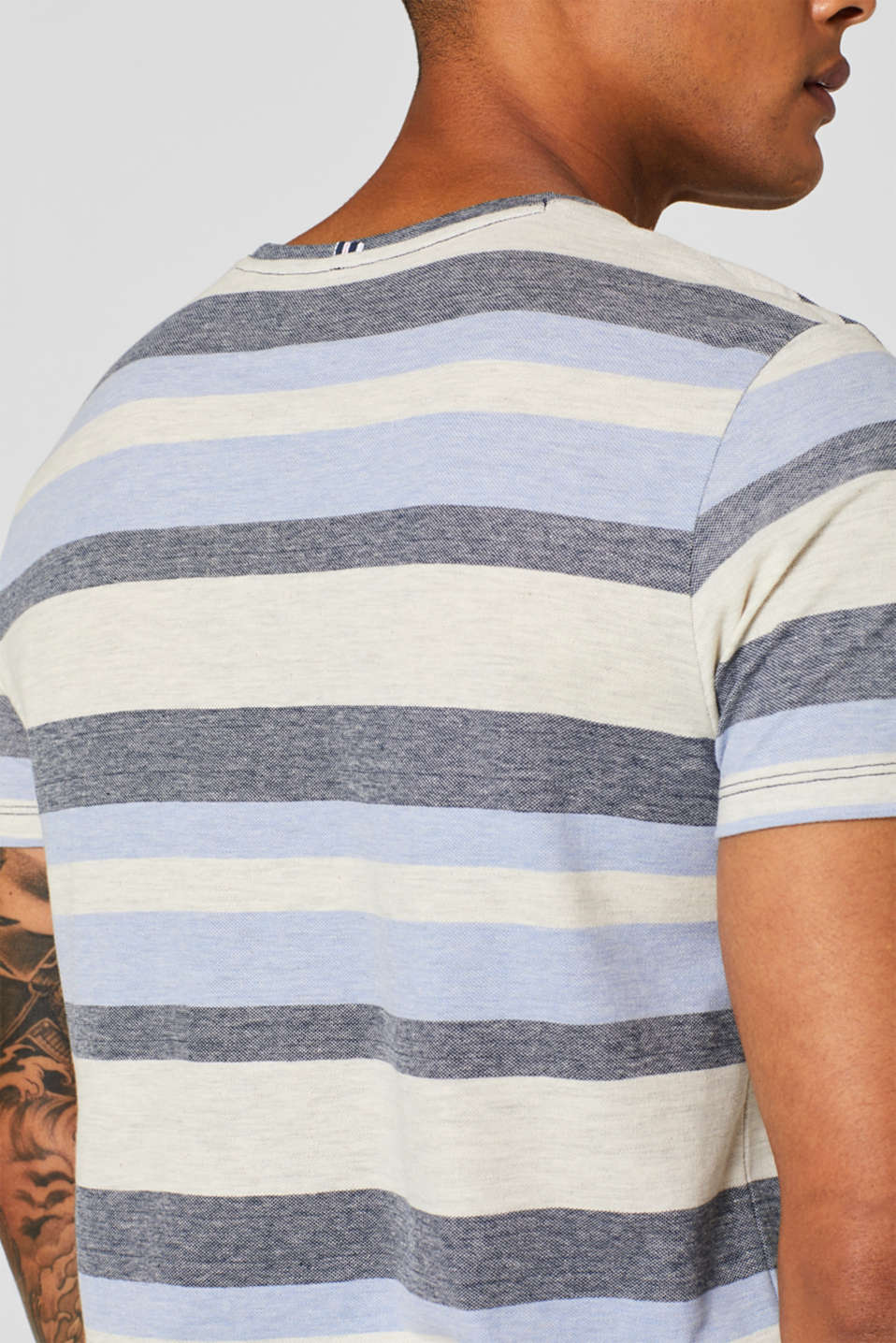 Piqué T-shirt with stripes, NAVY, detail image number 5