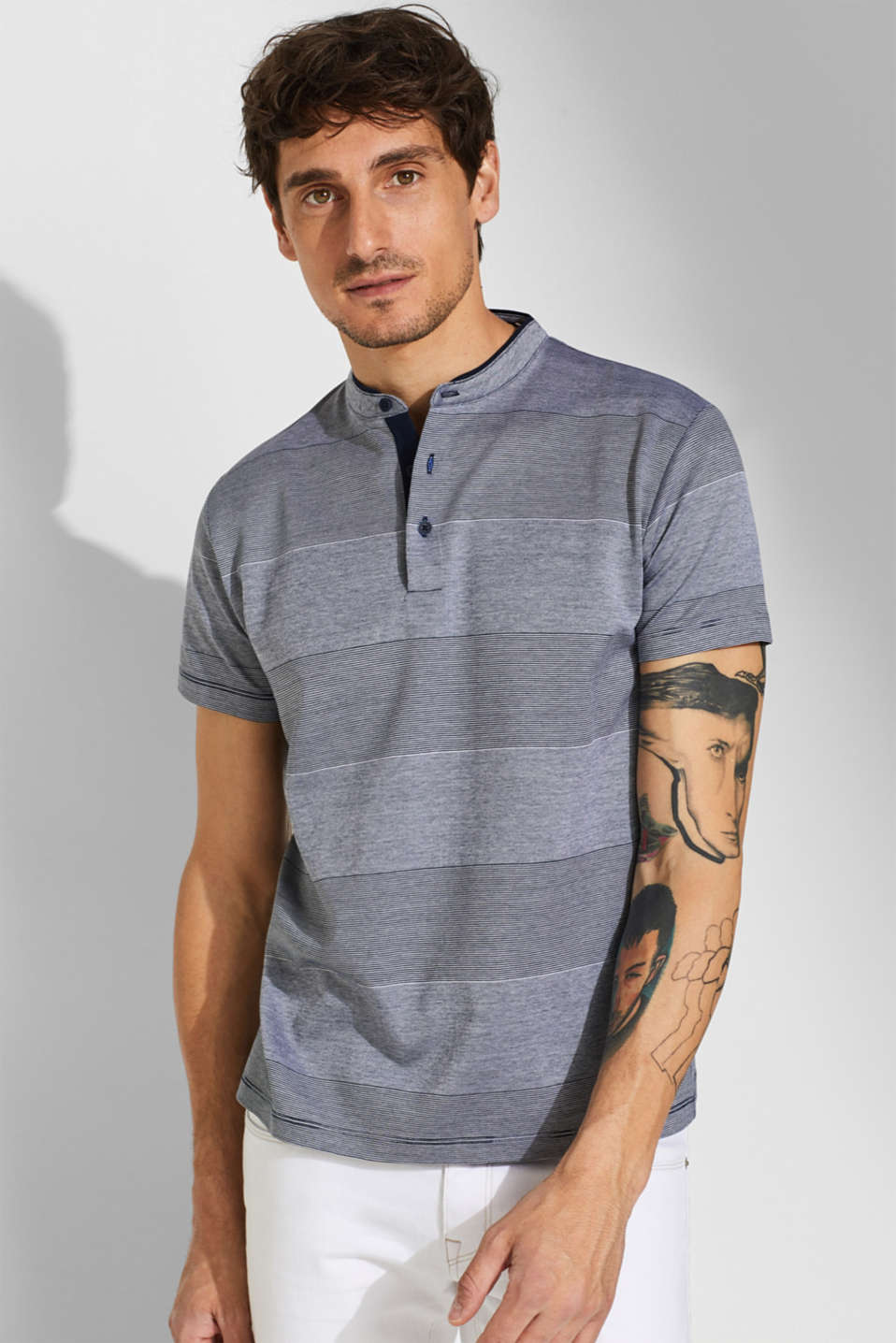 Esprit - Jersey polo shirt with a stand-up collar