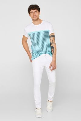 Jersey T-shirt with stripes, 100% cotton, LIGHT AQUA GREEN, detail