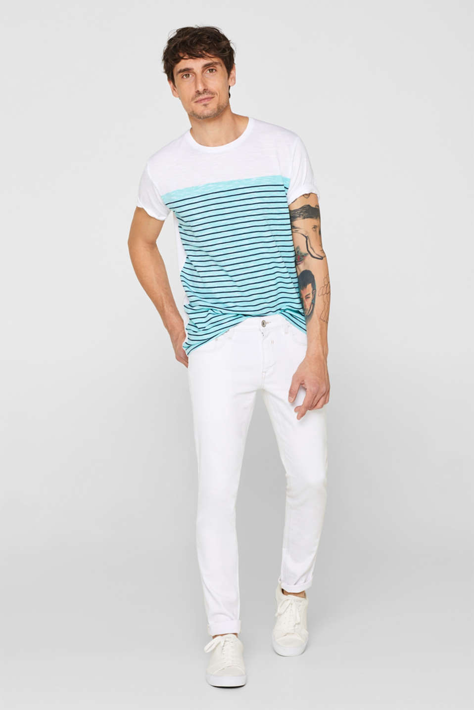 Jersey T-shirt with stripes, 100% cotton, LIGHT AQUA GREEN, detail image number 2