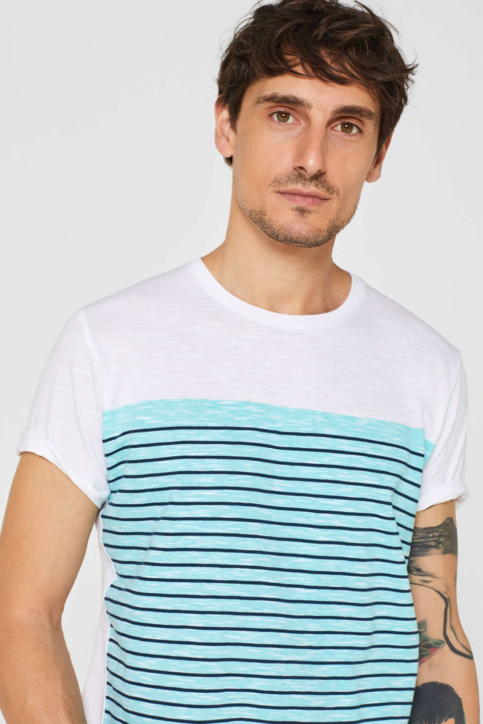 Jersey T-shirt with stripes, 100% cotton, LIGHT AQUA GREEN, detail image number 1