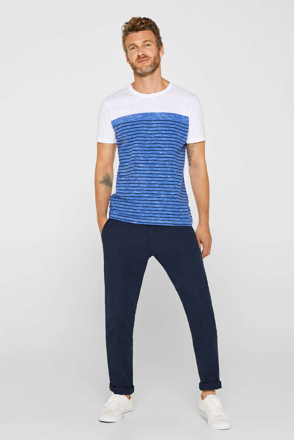 Jersey T-shirt with stripes, 100% cotton, NAVY, detail image number 2