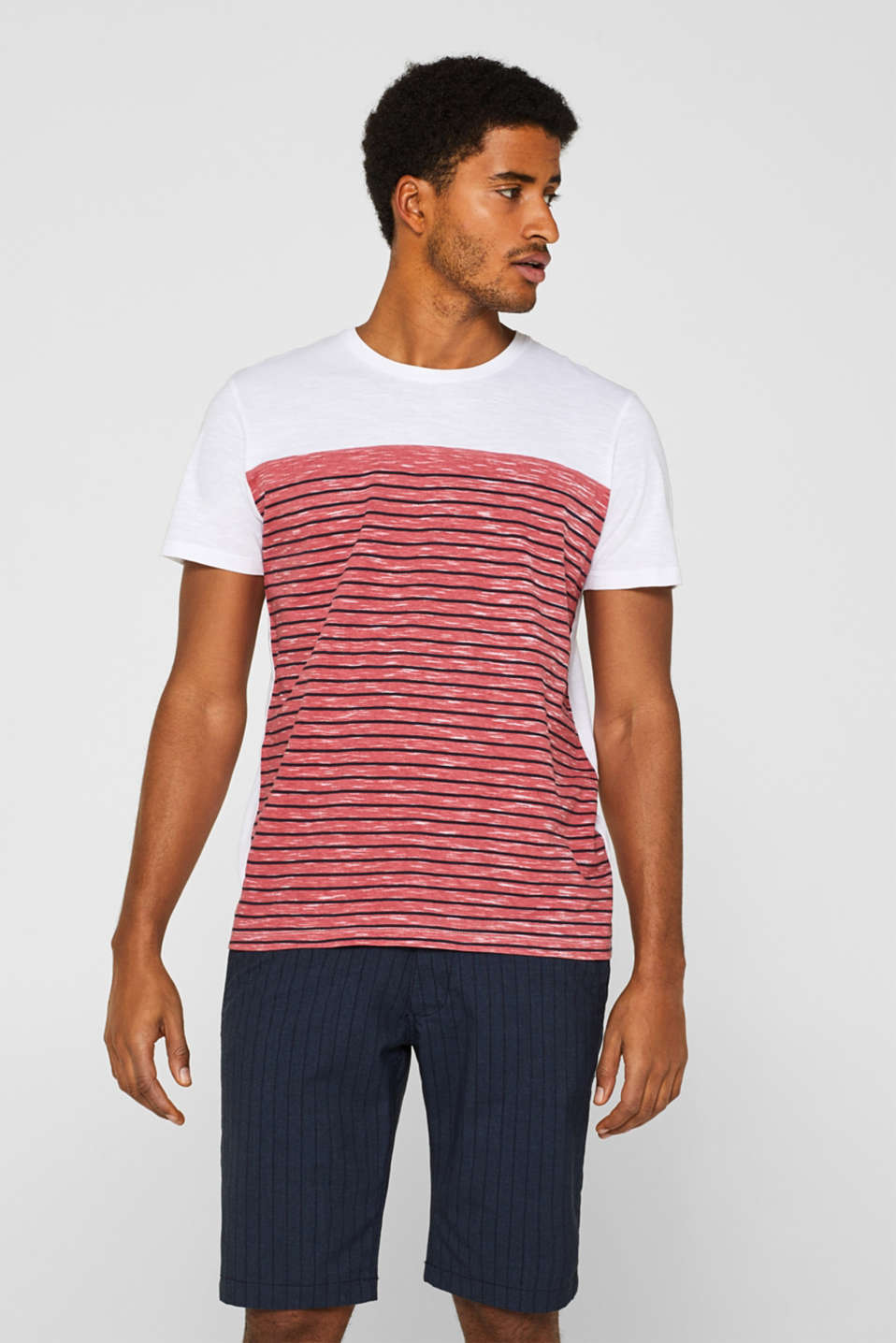 Jersey T-shirt with stripes, 100% cotton, BLUSH, detail image number 0