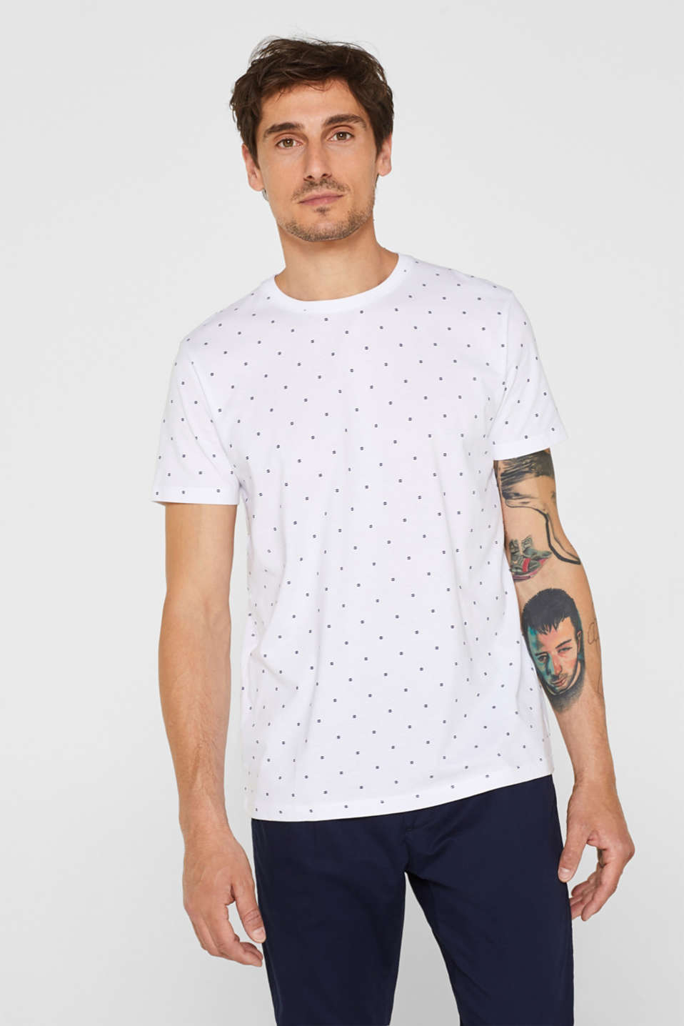 Esprit - Jersey T-shirt with a micro print, 100% cotton