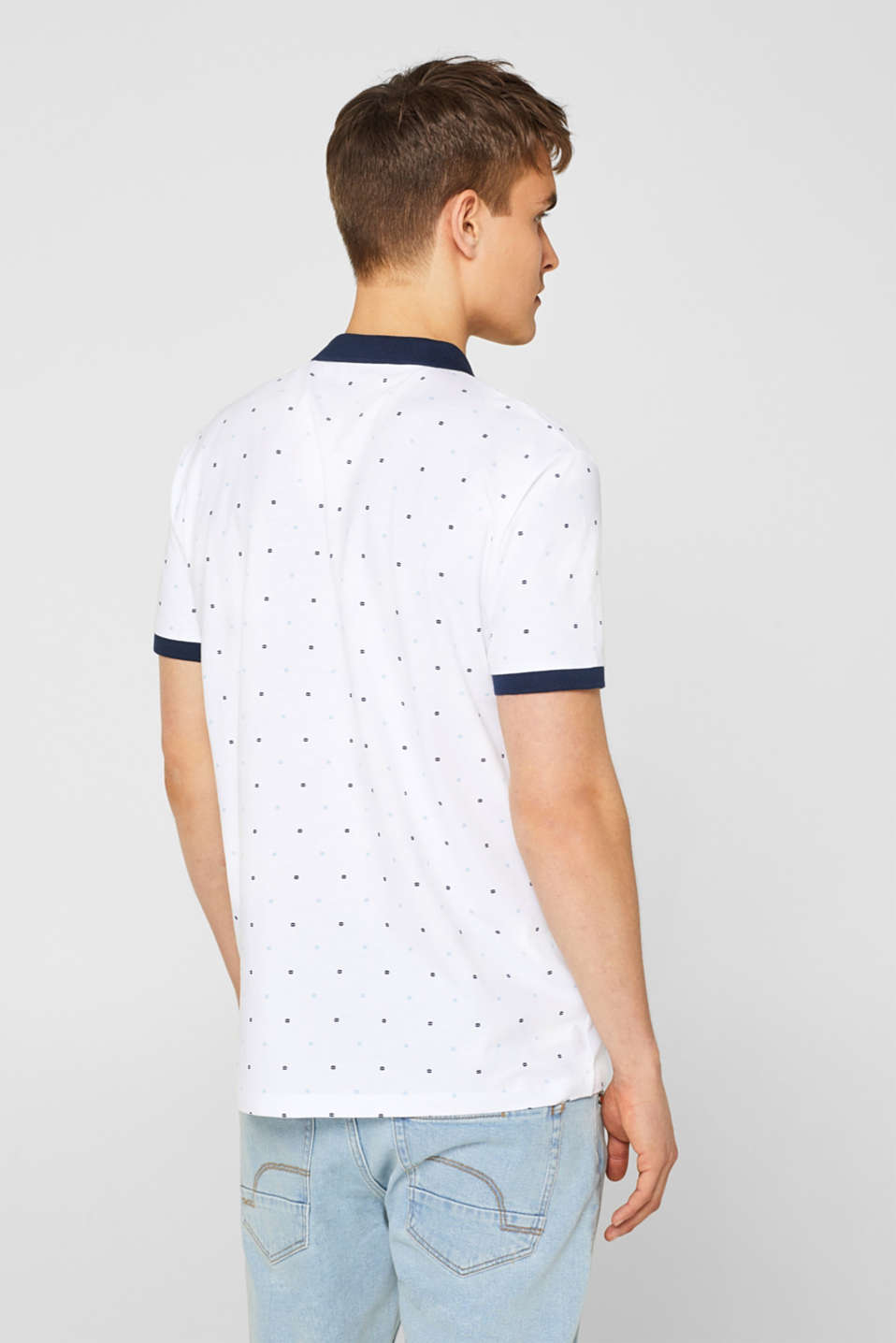 Jersey polo shirt in 100% cotton, WHITE, detail image number 3