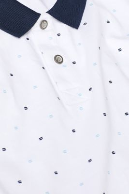 Jersey polo shirt in 100% cotton, WHITE, detail