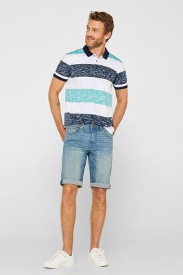 Slub jersey polo shirt made of 100% cotton, AQUA GREEN, detail
