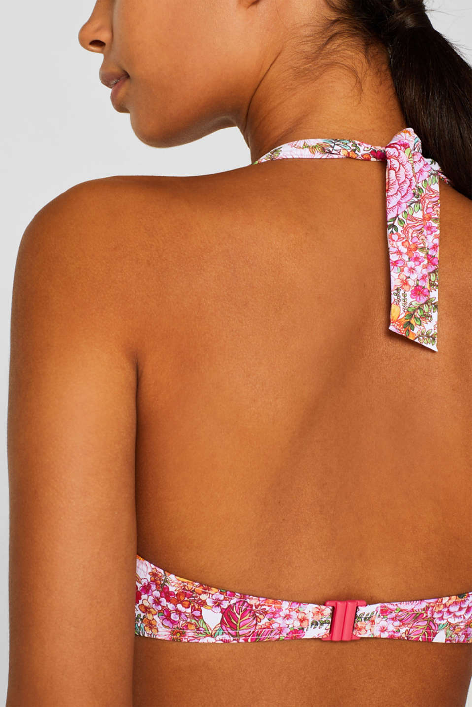 Padded halterneck top with a floral print, PINK FUCHSIA, detail image number 4