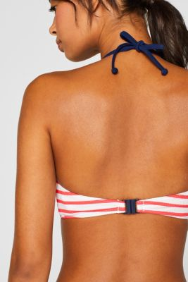 Padded halterneck bikini top with textured stripes