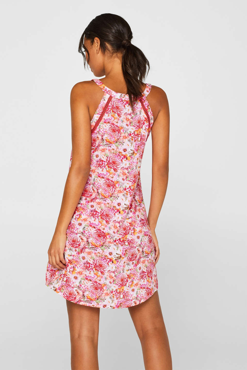 Beach dress with a print and bordered with an airy open-work pattern, PINK FUCHSIA, detail image number 1