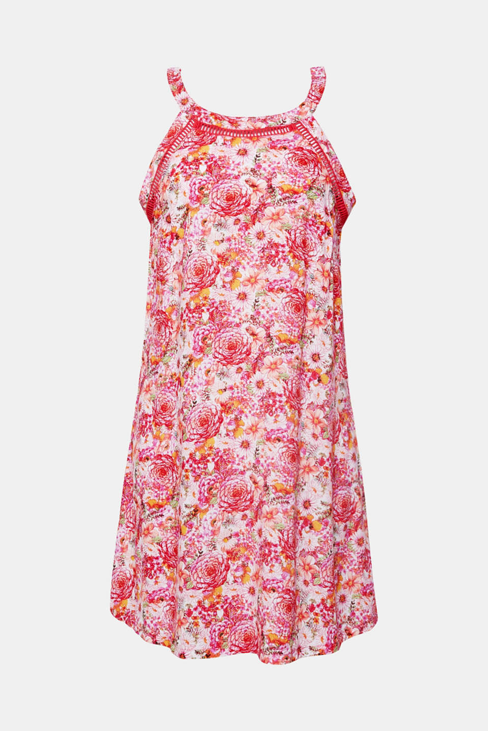 Beach dress with a print and bordered with an airy open-work pattern, PINK FUCHSIA, detail image number 3