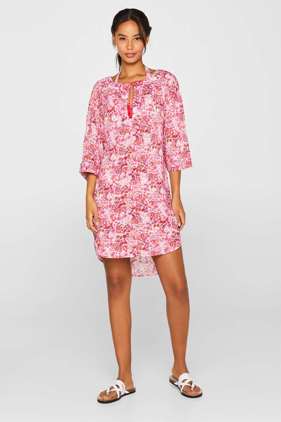 Tunic dress with a floral print, PINK FUCHSIA, detail
