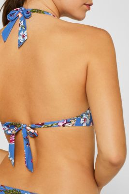 Padded halterneck top with a floral print